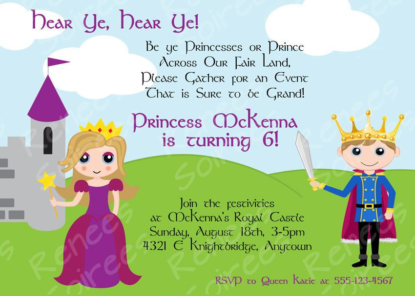 PRINCE and Princess or PRINCESS & KNIGHT Birthday Party - Printable ...