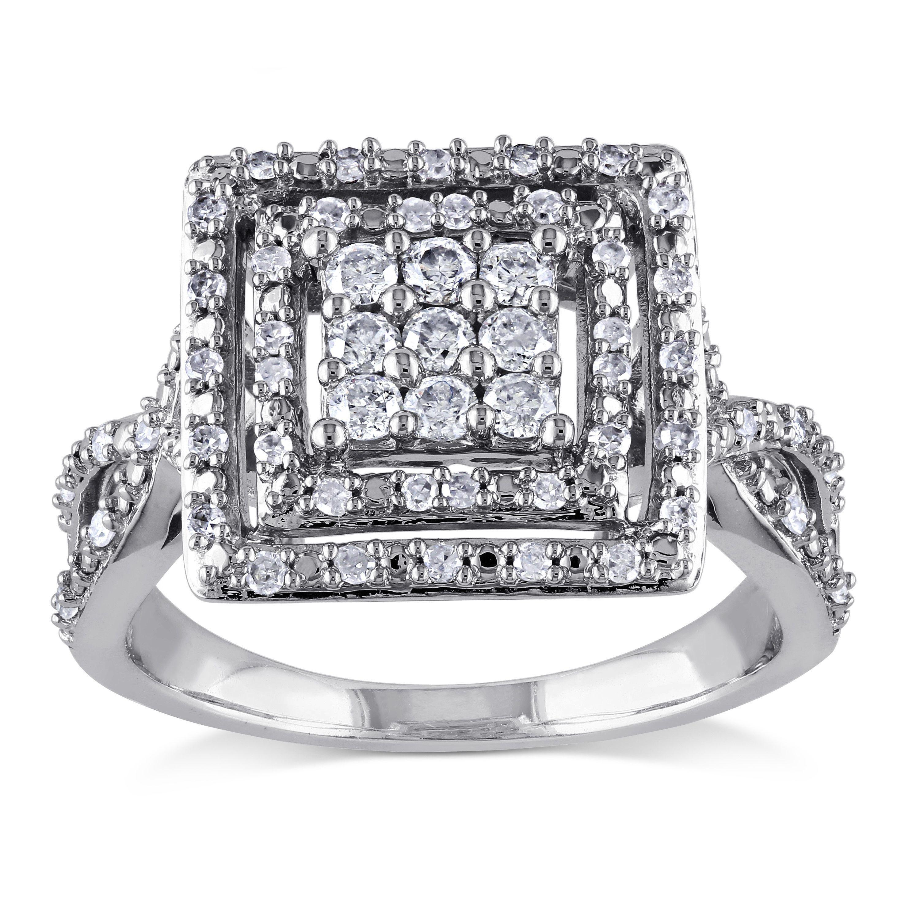 Miadora signature collection 14k white gold 1ct tdw diamond double row - Miadora 10k White Gold 1 2ct Tdw Diamond Double Halo Ring G H I2 I3 Size 10 Women S