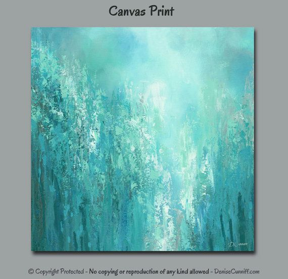 Modern Abstract Painting Canvas Print, Teal Aqua Seafoam Green Turquoise  Blue Gray, Office Wall Art, Large Square Up To Bedroom Decor Part 51