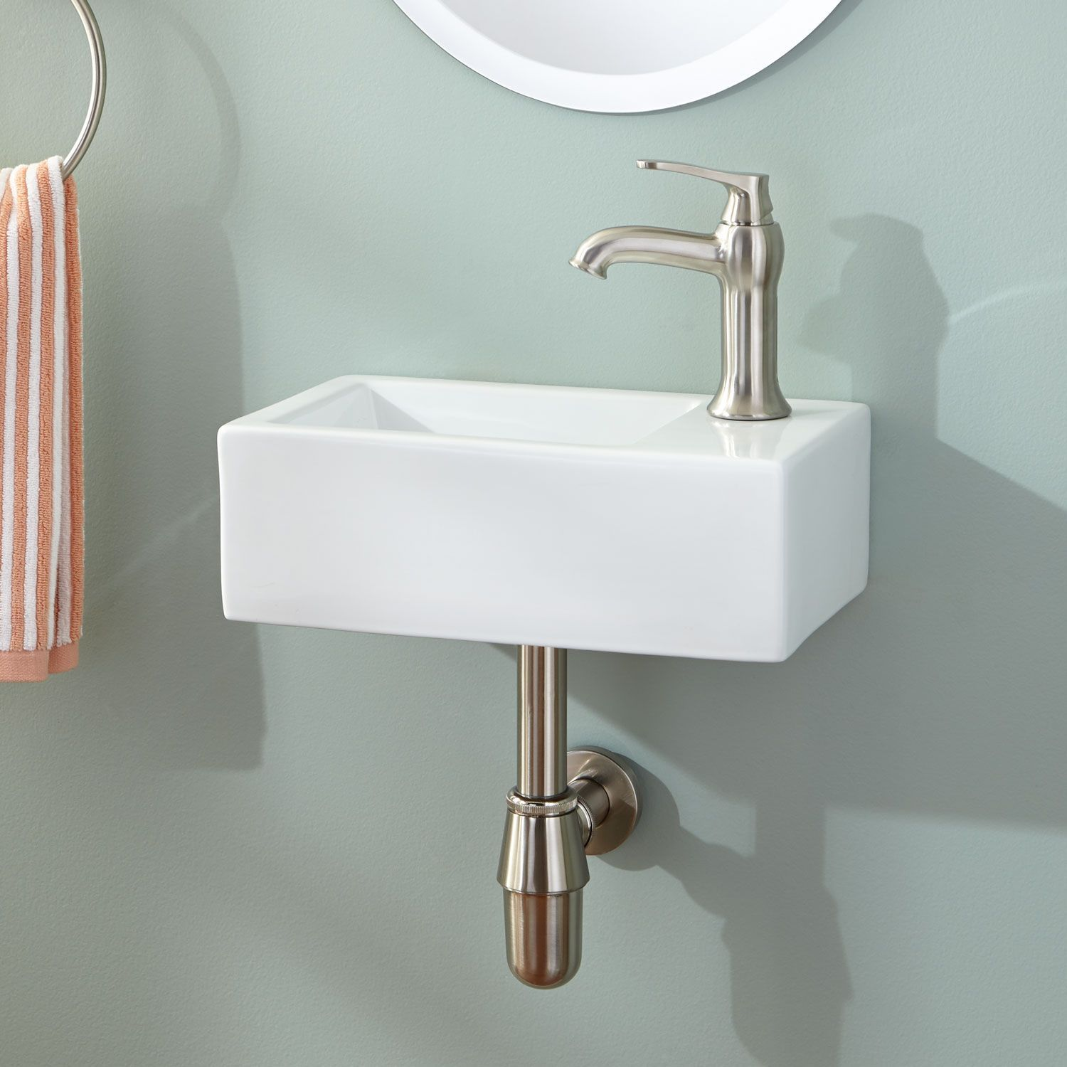 Corrie Mini Porcelain Wall Mount Bathroom Sink Wall Mounted