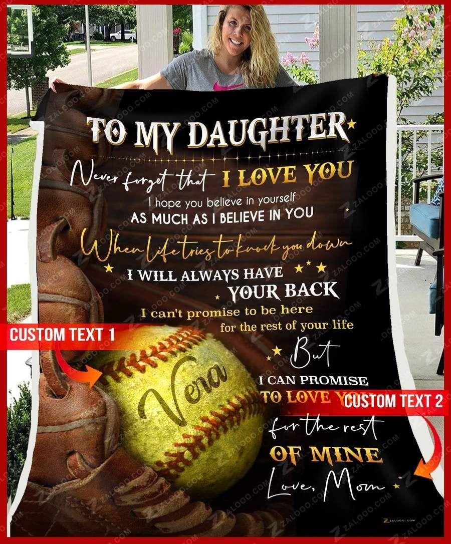 To My Daughter I Always Be With You Love Mom Custom Softball Fleece Blanket