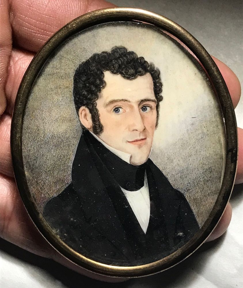 19th century miniature portrait painting handsome young