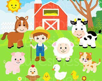 Baby Farm Animals Clip Art digital clipart - farm animals - digital paper and clip art set