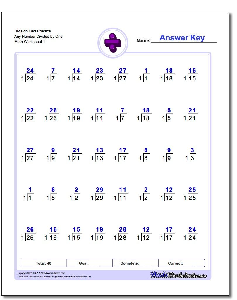 Division worksheet fact practice any number divided by one