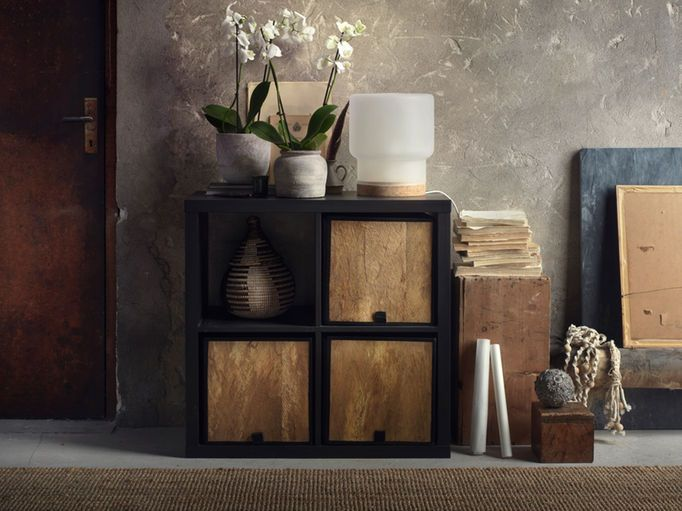 Square Shaped Baskets Made Of Coconut Palm Leaves Shown In A Black Brown Shelving Unit Brown Living Room Decor Brown Furniture Decor Brown Bedroom Decor #storage #box #for #living #room
