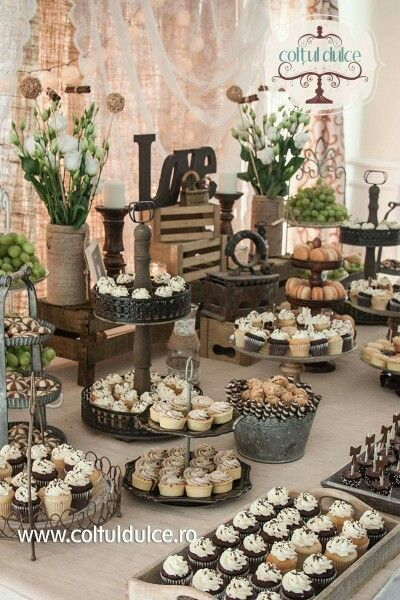Rustic Theme Vintage Candy Bar Dessert Table Coltul Dulce Www Coltuldulce Ro Really Like The Idea Of Having Family Bring A Cake And