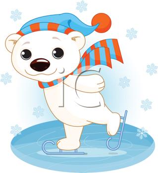 Iclipart Illustration Of Cute Polar Bear On Ice Skates Polar Bear Cartoon Polar Bear On Ice Cute Polar Bear