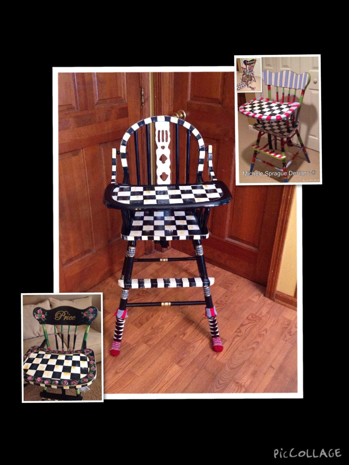 Painted wood high chair - Wood High Chair Custom Painted Black And White Checks Whimsical Furniture By Michelespraguedesign On Etsy Https