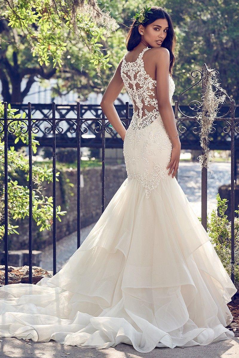 Veda Mermaid Wedding Dress By Maggie Sottero Weddingwire Com Wedding Dresses Kleinfeld Fit And Flare Wedding Dress Halter Wedding Dress [ 1200 x 800 Pixel ]