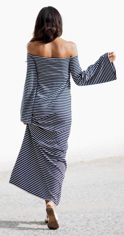 This striped off the shoulder maxi dress… Want it.Via Kayla Seah  Dress: Edited By Maja