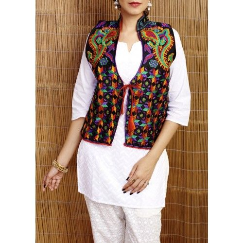 Gleamberry | Black Phulkari Embroidered Silk Jacket