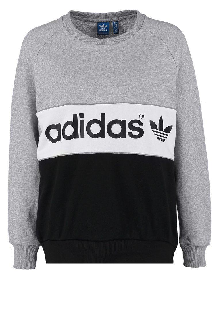 Adidas Originals City Bluza Medium Grey Heather Black Grey Long Sleeve Shirt Sweaters Jeans Black Jumper [ 1100 x 762 Pixel ]