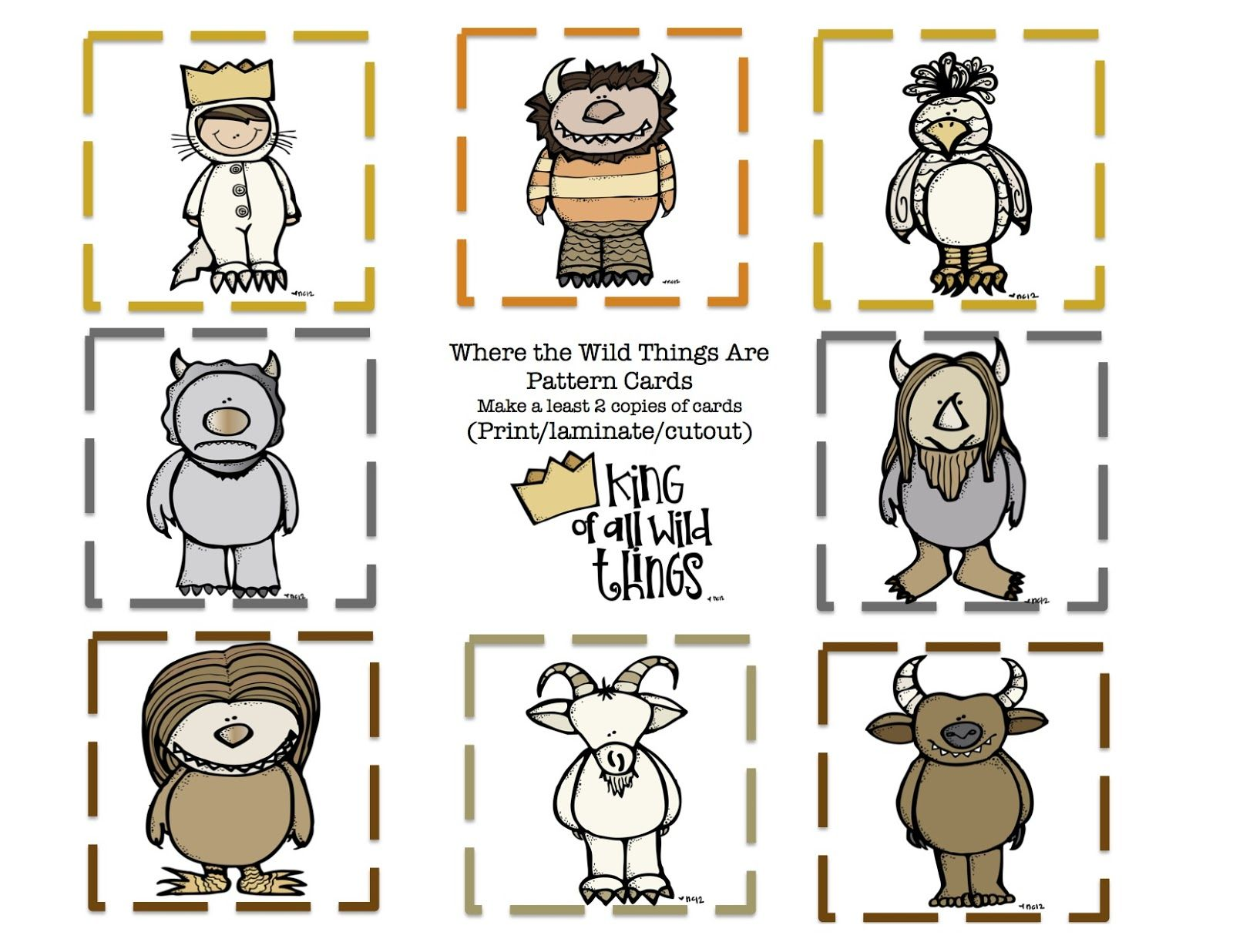 where the wild thing are pattern cards preschool printables