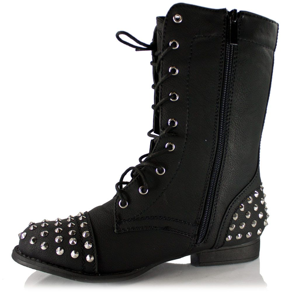 Details about Womens Spike Studs Military Combat Boot Faux-Leather ...