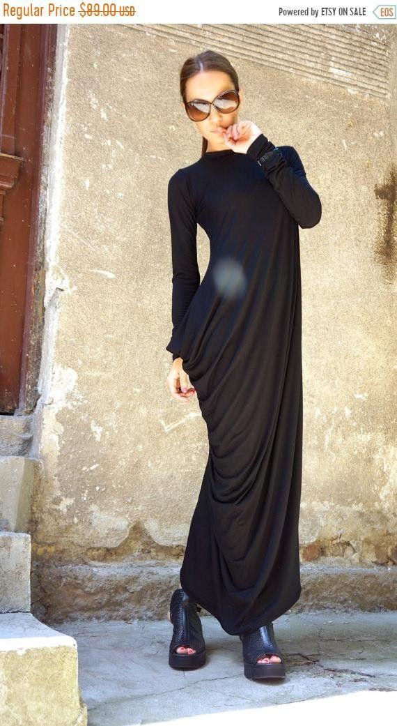 VENDITA nuova collezione nero stravagante Maxi abito viscosa Maxi tunica   Extra  lungo maniche abito nero asimmetrico di AAKASHA A03257 b6c8dc78bd2