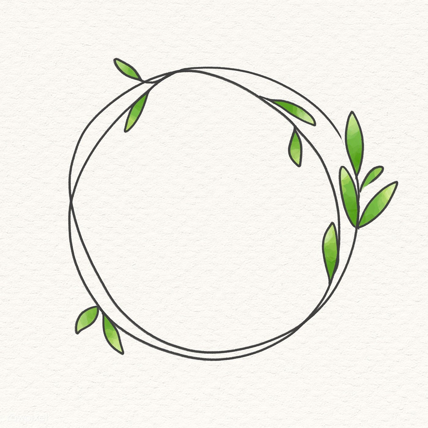 Photo of Download premium illustration of Doodle wreath frame on beige background