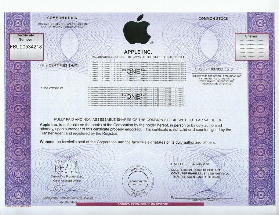 Apple Stock Certificate 2008 Scripophily Dow Jones Index