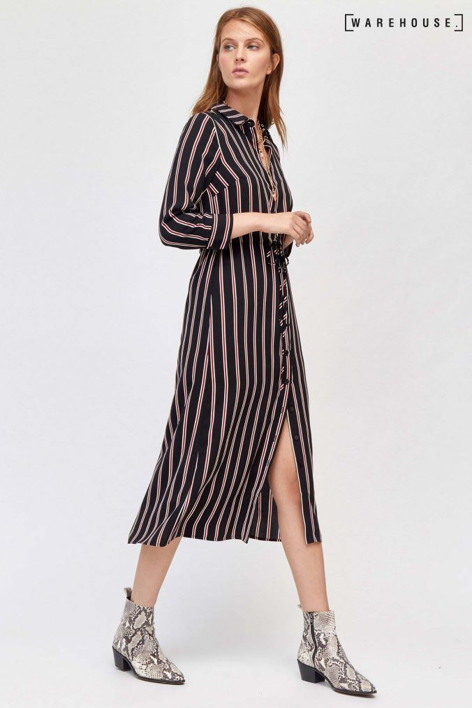 19627b76227 Womens Warehouse Black Stripe Midi Shirt Dress - Black