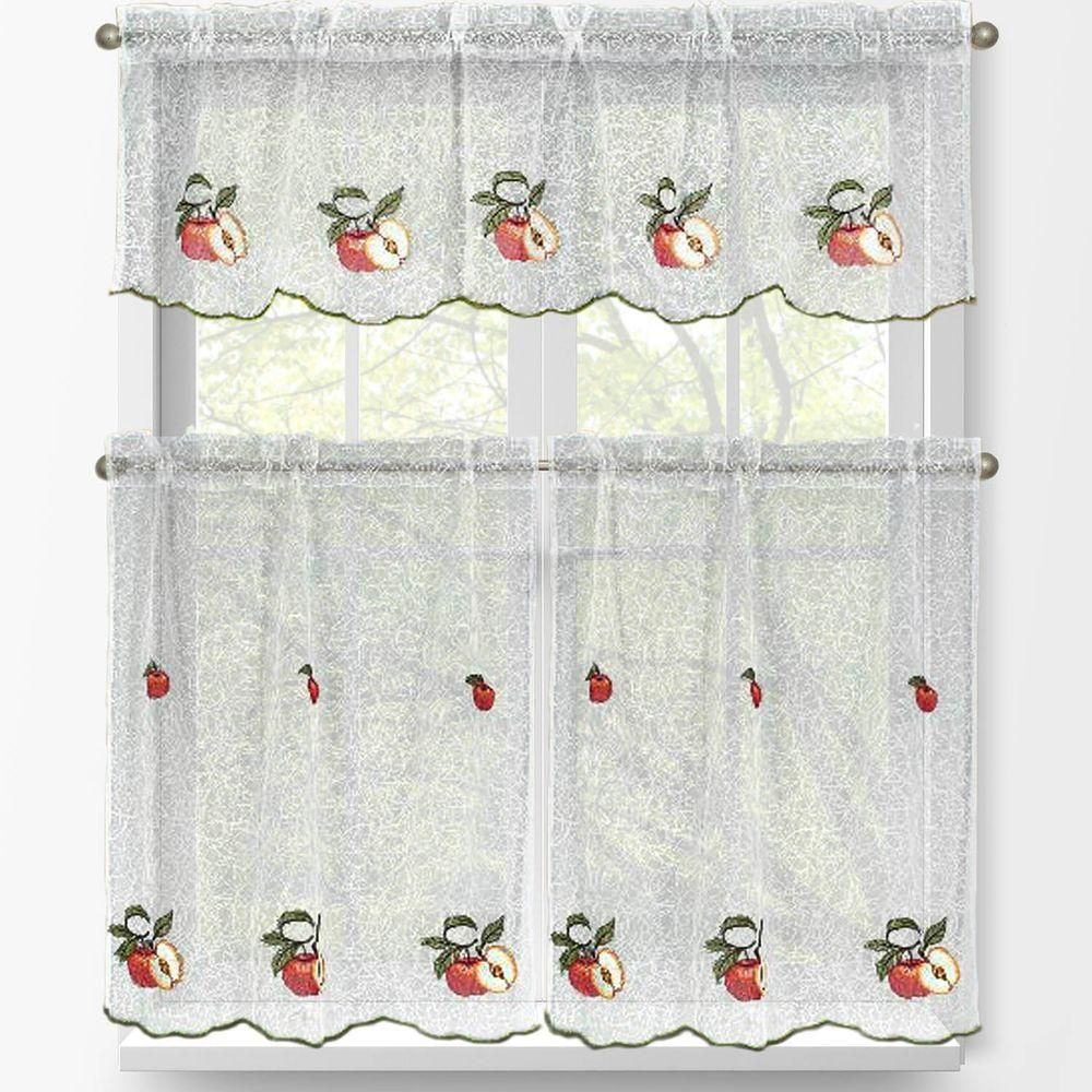 Window elements red apple embroidered piece kitchen curtain tier