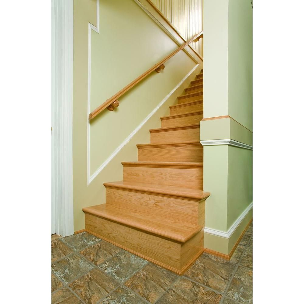 Alexandria Moulding 48 In X 11 1 2 In Unfinished Oak Retread And Riser Stairs Trim Family Room Remodel Moldings And Trim