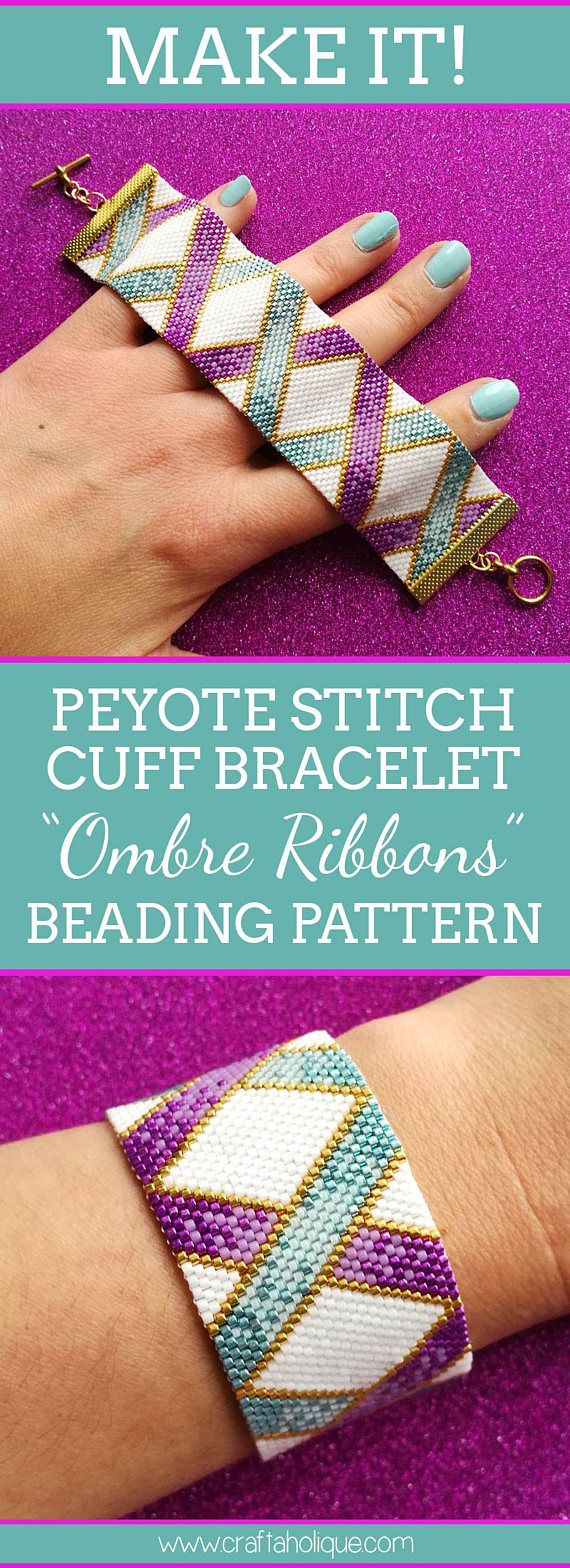 Peyote Bracelet Pattern in White, Teal, Purple & Gold - Ombre Ribbons - Flat Event Count Peyote for Miyuki Delicas Size 11/0 #easyupdo