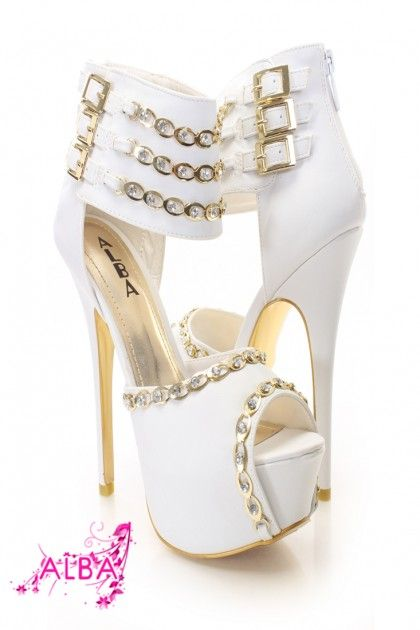 693394d81183 White Gold Faux Suede Rhinestone Chain Accent Heels White High Heels