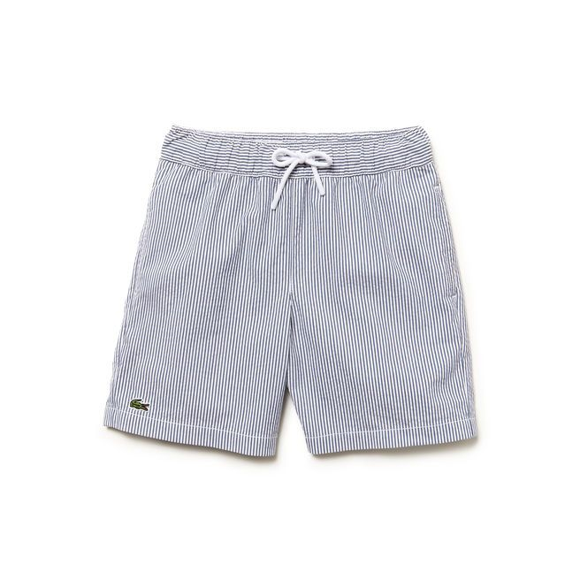 01ddbdc38cd2db Boy s Seersucker Swim Trunks from Lacoste.