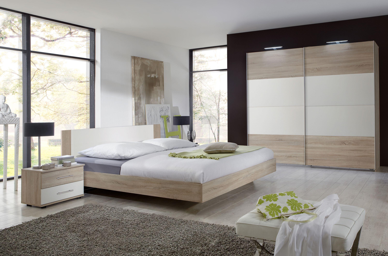 Schlafzimmer Mit Bett 180 X 200 Cm Eiche Sägerau Alpinweiss Woody