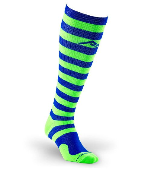Get maximum recovery with Marathon Royal and Green Stripe full-length, graduated compression sock by PRO Compression.