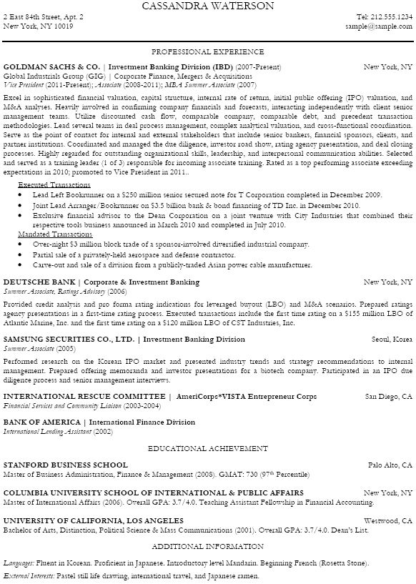 Investment Banker Resume Sample Free Resume Templates