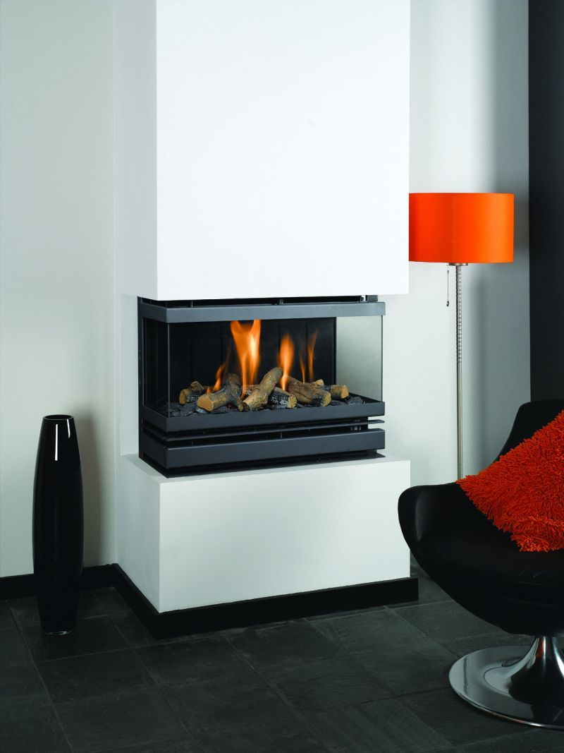 Creative Modern 3 Sided Gas Fireplace Design | Fireplace ...
