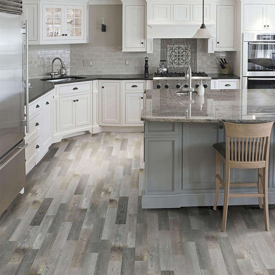 Shop Style Selections Kaden Reclaimed Porcelain Floor Tile Common 6 In X 36 In Actual Wood Tile Kitchen Kitchen Flooring Porcelain Wood Tile Kitchen