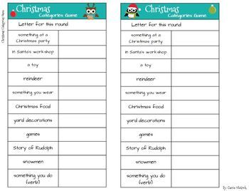 Christmas Categories Game  Like Scattergories  Gaming Holidays