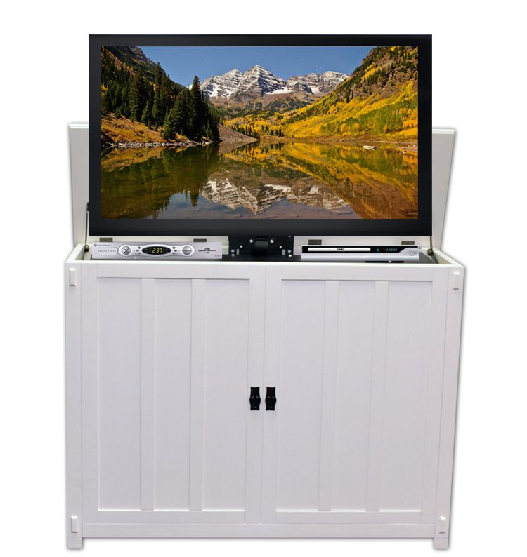 The Elevate Mission White Tv Lift Cabinet
