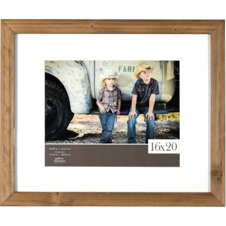 16x20 Rustic Wood Gallery with White Mat To 11x14 Frame, Brown ...