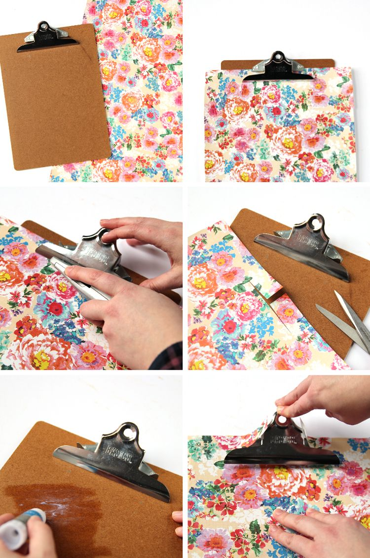 HOW TO DECORATE AND COVER A CLIPBOARD USING WRAPPING PAPER. — Gathering Beauty