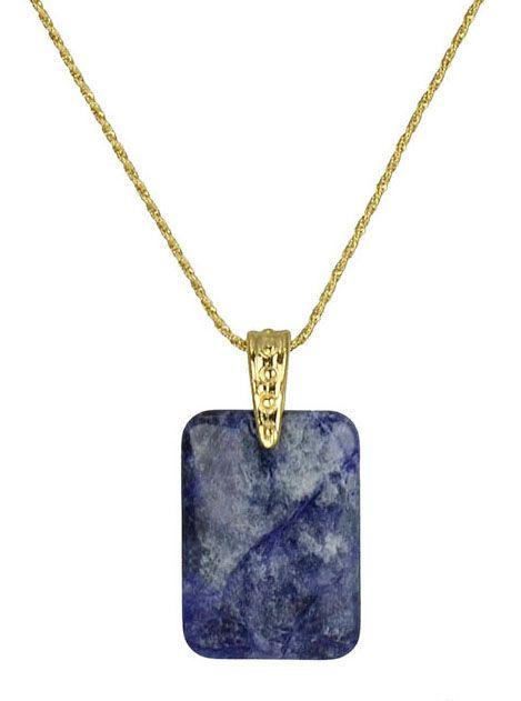 680f7a2a15ab4 Colar com corrente dourada folheado a ouro com pingente em pedra natural  sodalita azul. Fecho