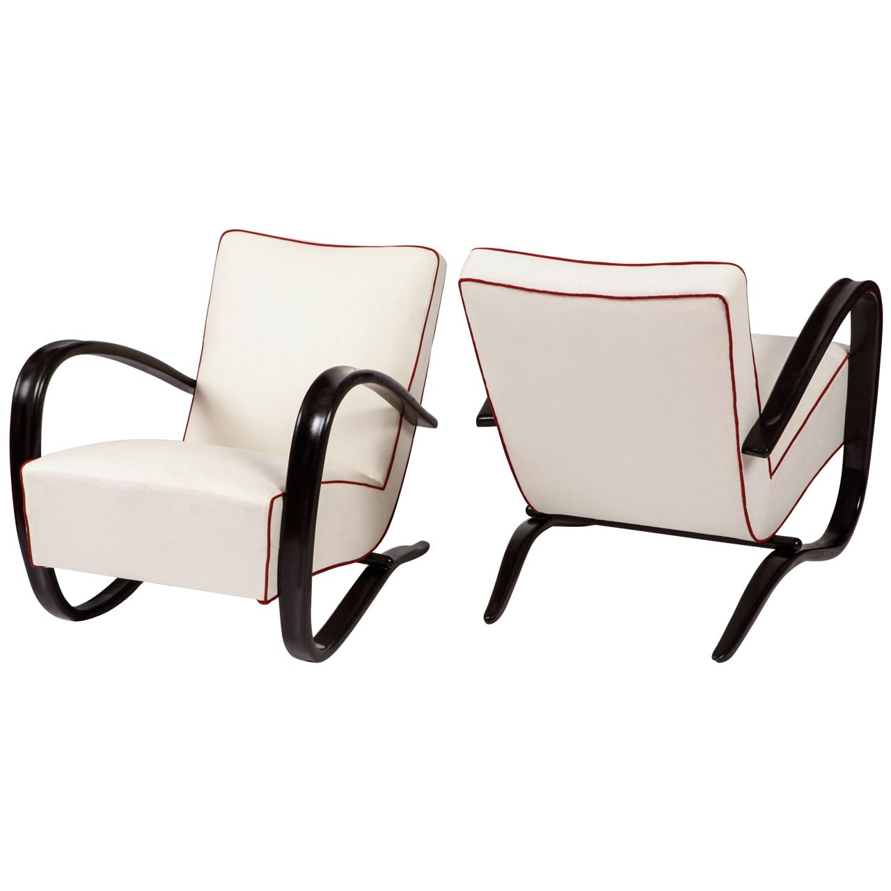 Halabala Jindrich Pair Of Lounge Chairs Model N. H269 By Thonet