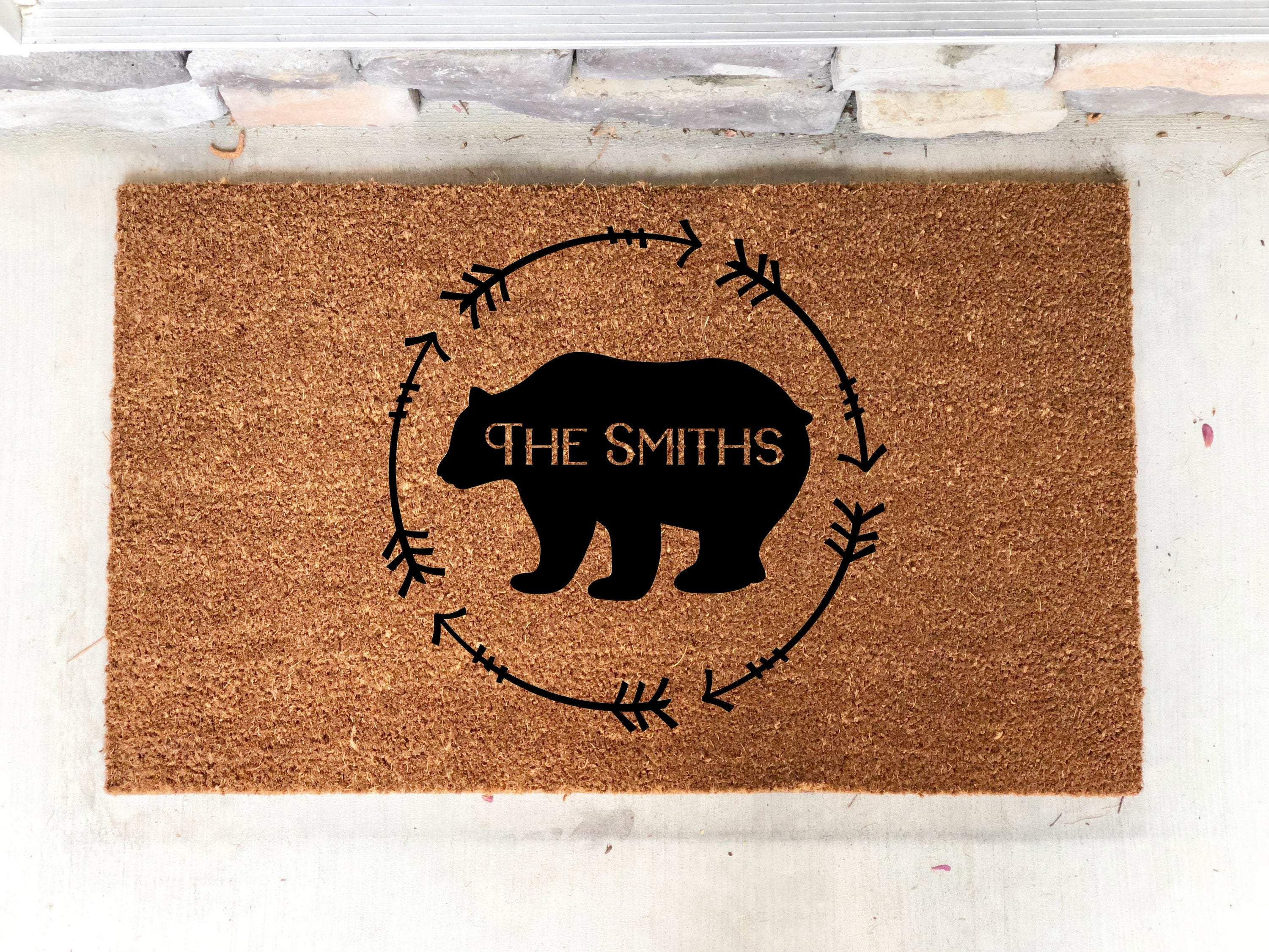 Photo of Personalized Cabin Doormat- Mountains Door Mat- Bear Decor- Mountain Home Decor- Doormat Personalized