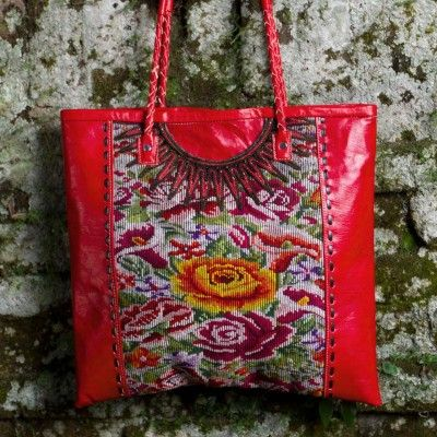Recycled handwoven huipile fabric paired with vivid-hued leather = a gorgeous statement bag **Altiplano