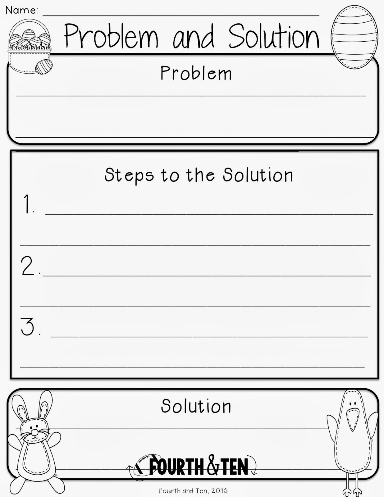 easter graphic organizers - reading/writing - problem & solution