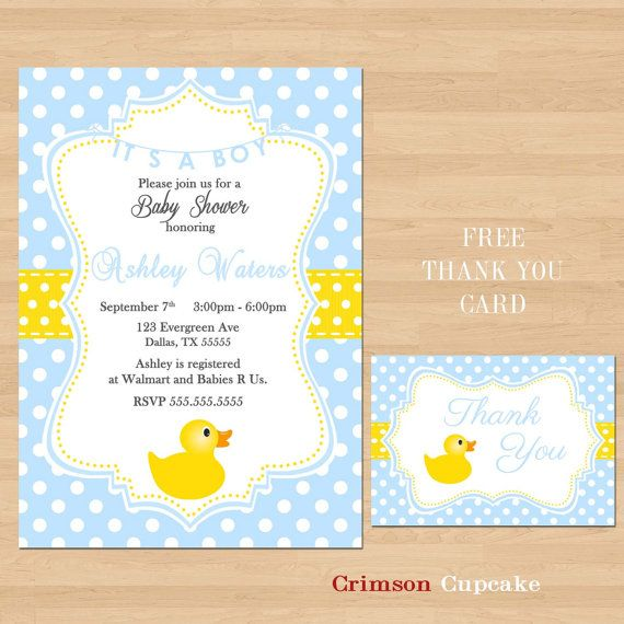 Items Similar To Printable Baby Shower Rubber Ducky Yellow Blue Invitation  Its A BOY Free Thank You Card On Etsy