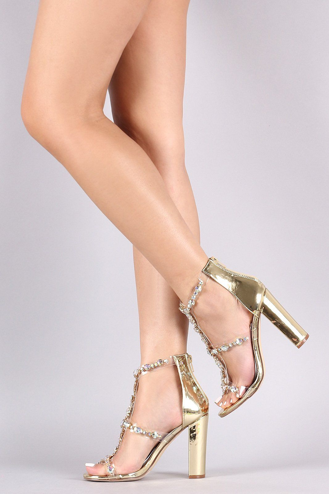 5bd5b865988 Liliana Clear Jewel Embellished T-Strap Stiletto Heel Comes In Mermaid    Unicorn Colors