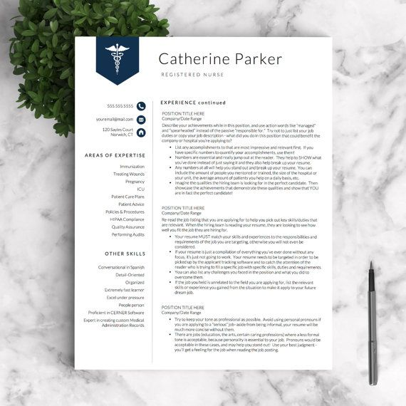 Doctor Resume Template For Word  Pages By Landeddesignstudio
