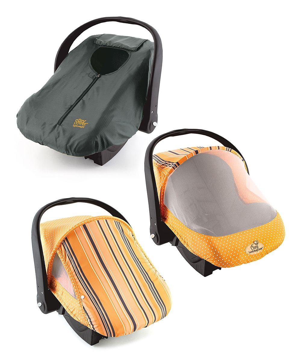 Orange Cozy Cover Car Seat Set = Mesh Bug Net, Sun Canopy
