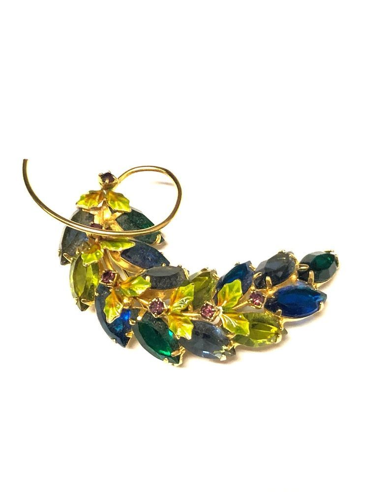 6c8c86d45f7 Estate Vintage Rhinestone Jeweled Leaf Brooch Gold Tone #Unbranded ...