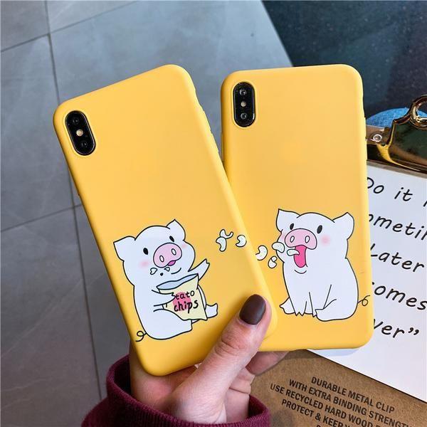 Niedlichen Cartoon Schwein drucken Telefonkasten für iPhone 6 s 8 7 plus Fall für iph – elega …   – Phone case