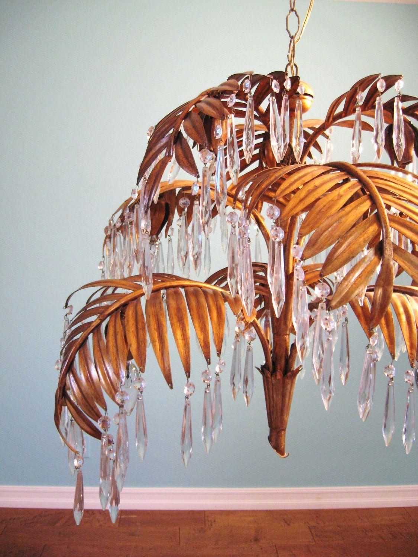 Vintage HOLLYWOOD REGENCY Gold Gilt PALM Leaf Crystal Chandelier Palm, Leaves and Lights