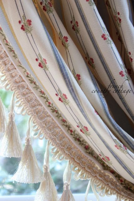 French Ticking Stripe Drapes French Country Cottage French Country Fabric French Country Curtains French Ticking Stripe