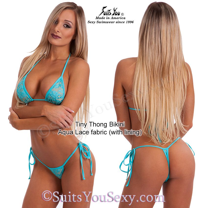 Sexy Lace Thong Bikini Aqua Lace With Nude Lining Sexiest Tiny Thong Bottoms With Tiny Tops Sexy Swimwear From Suits You